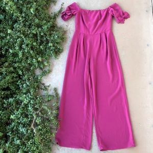 Gal Meets Glam Meredith Pink Wide Leg Jumpsuit